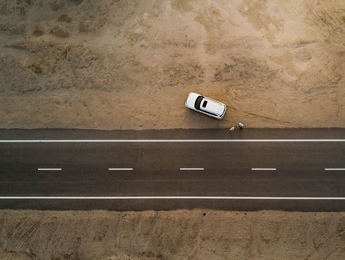 Aerial View Of Car Parked By Road