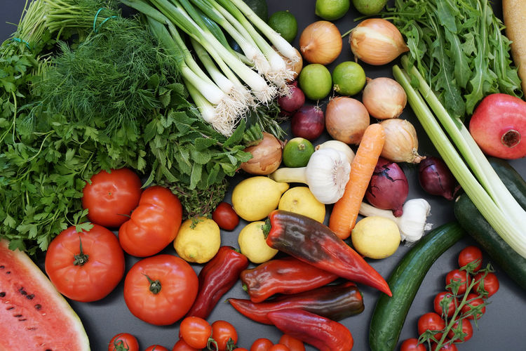 Directly above shot of various vegetables and fruits on table