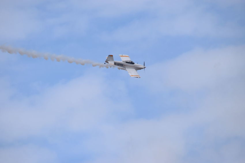 Southport Airshow 2016 Stunt Plane Smoke Trails Cloudy Blue Sky Flying Outdoors