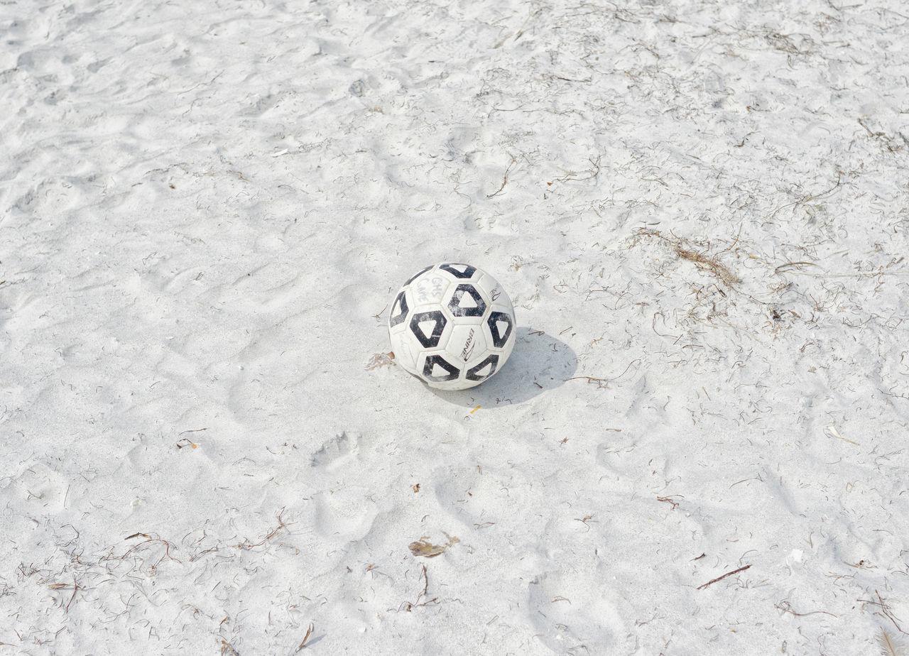 soccer, soccer ball, sand, ball, high angle view, football, beach, no people, sport, outdoors, day, soccer uniform, close-up