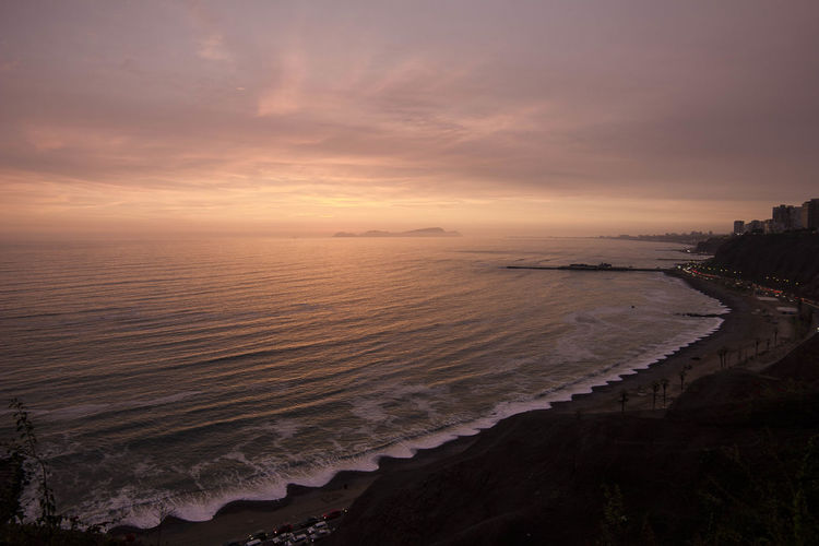 Beautiful sunset waves in Lima Peru Lima Nature Beach Beauty In Nature Cloud - Sky Coastline Exploration Horizon Horizon Over Water Land Location Nature Outdoors Pattern Place Scenics - Nature Sea Sky Sunset Tranquil Scene Tranquility Water Waves