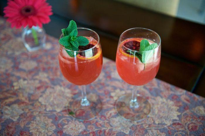 Wine spritzer cocktails with mint and blood orange garnish. Alcoholic Drink Blood Oranges Close-up Cocktails Freshness Garnish Indulgence Mint No People Still Life Wine Spritzer