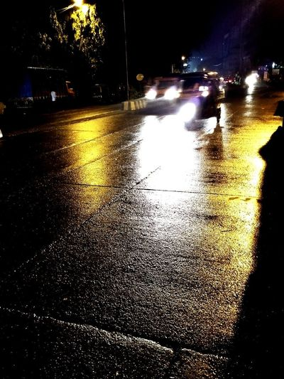 EyeEmNewHere Wetmumbai Cityroadslooksofresh Nightdrive Rainy Days Lights In The Dark Cars Rushing Home
