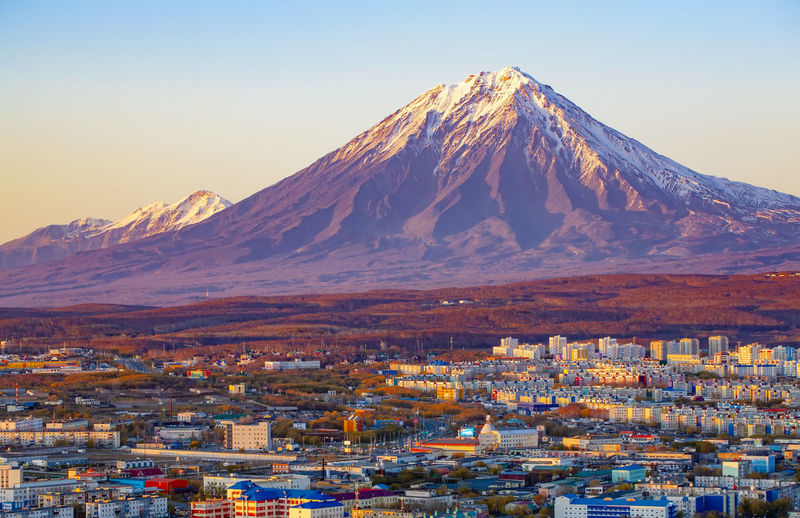 Panoramic view of the city petropavlovsk-kamchatsky and volcanoes