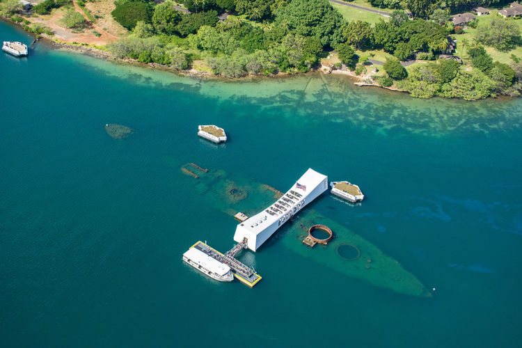 Aerial view of uss arizona memorial at pearl harbor on oahu, hawaii.