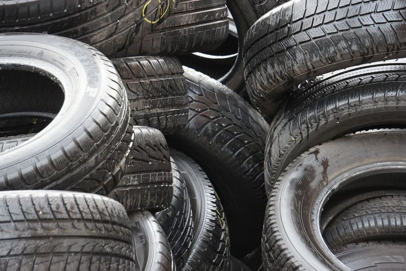 Close-up of stacked tires
