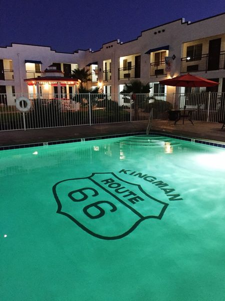 """Poolside On Route 66"" Pool Poolside Swimming Pool Pool Side Route 66 Historical Hotels Kingman Arizona Motels"