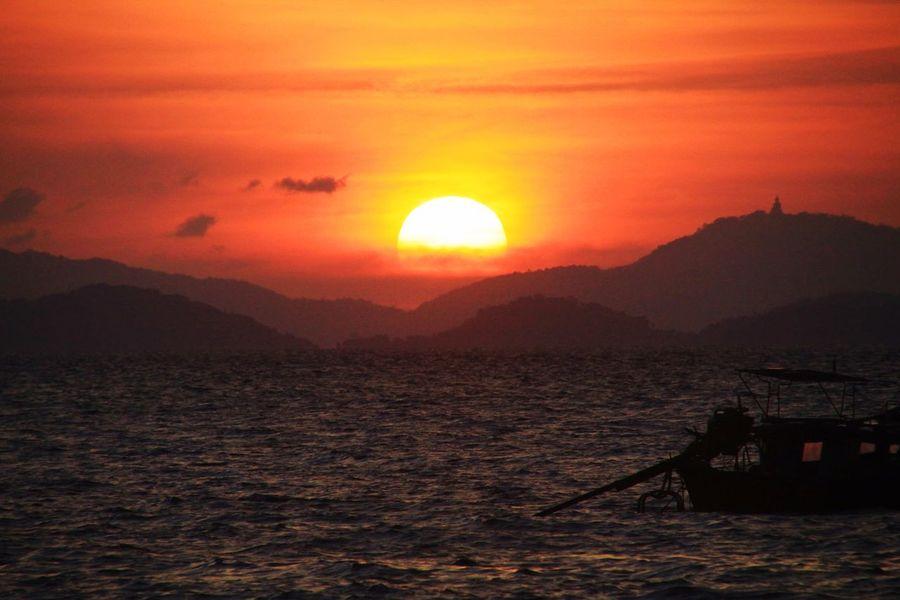 Ko Yao Yai Sunset Ko Yao Yai Ko Yao Noi Thailand Sunset Water Sky Nautical Vessel Sea Beauty In Nature Transportation Scenics - Nature Sun Orange Color Mountain Nature Idyllic Tranquil Scene Sunlight Cloud - Sky Tranquility Waterfront No People