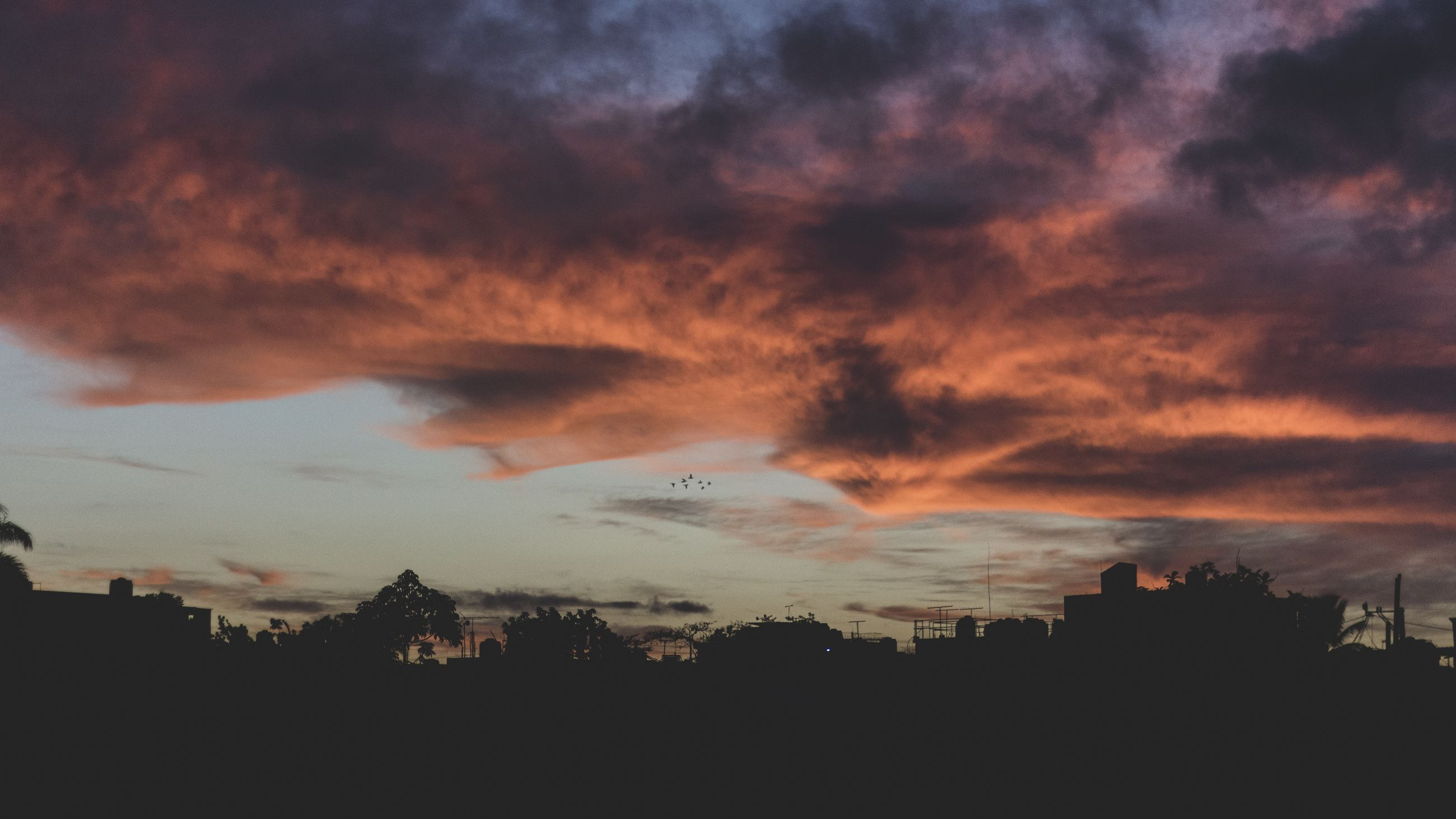 sky, cloud, sunset, beauty in nature, nature, scenics - nature, environment, silhouette, dramatic sky, afterglow, landscape, dawn, no people, architecture, tranquility, evening, outdoors, tranquil scene, red sky at morning, cloudscape, orange color, horizon, building exterior, building, built structure, idyllic, tree, storm, dark