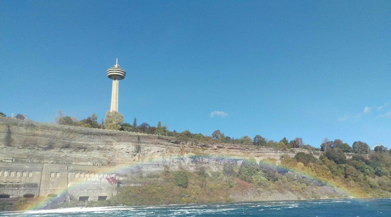 Low Angle View Of Skylon Tower In Niagara Falls Against Blue Sky