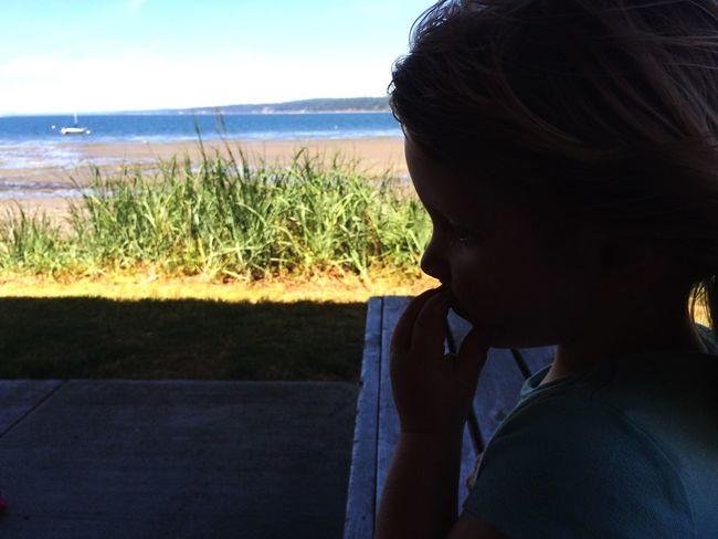 A girl and the beach.