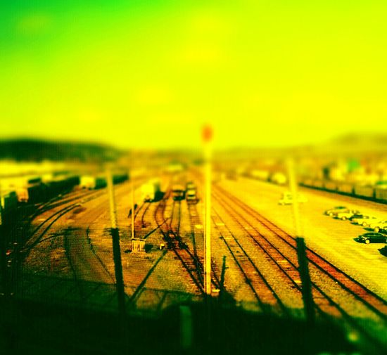 Tilt-shift Scranton Showcase March Trainyard Miniworld Train Tracks Rural Scenery Showing Imperfection Transportation No People Interesting Perspectives Paint The Town Yellow