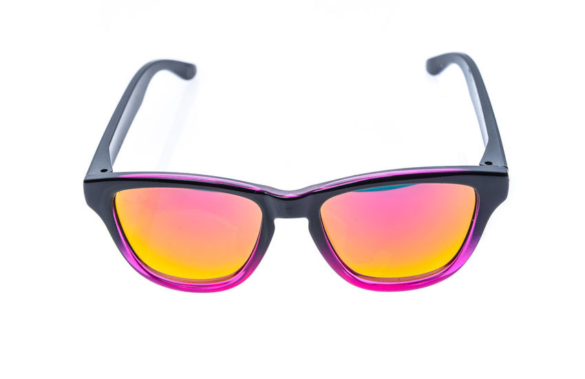 Color Children sunglasses, sun shades or spectacles isolated on white background. Color child or adoult men or woman glasses protection from sun and UV rays. Concept of sun protection and vacation. Adult Children Fashion Glasses Isolated Modern Spectacles Studio Accessories Children Sunglasses Colour Eyewear Fashion Accesories Isolated White Background Items Protection Studio Photography Sun Shades Sunglasses Tabletop White White Background