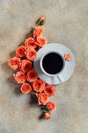 Food And Drink Directly Above Flower Coffee - Drink Coffee Drink Cup Coffee Cup Flowering Plant Refreshment Mug High Angle View Indoors  Freshness Beauty In Nature No People Black Coffee Plant Rosé Red Bouquet Flower Arrangement Crockery Bunch Of Flowers Floral Pattern