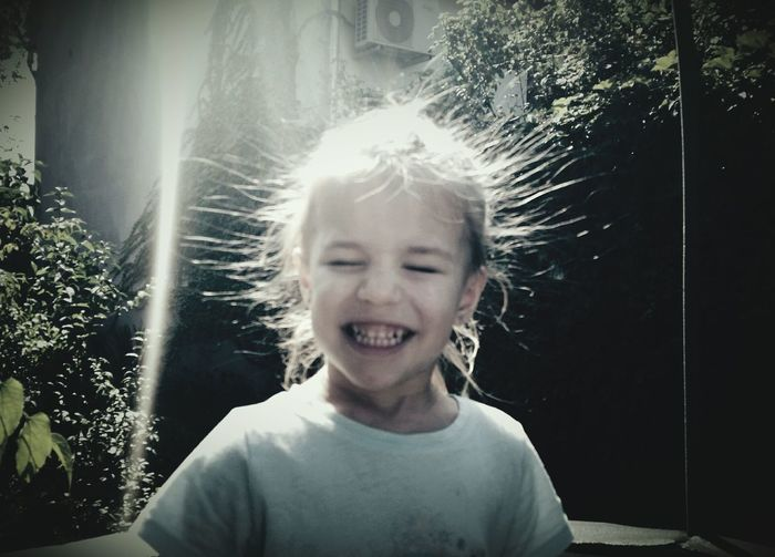 Electrical Sparks Uploaded Hair Children Photography Kids Funny