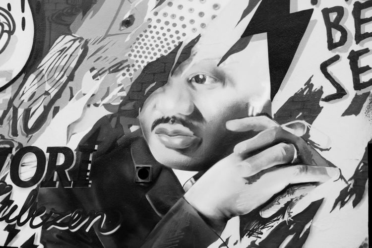 Art Art And Craft Black Black And White Close-up Creativity Day EyeEm Best Shots Front View Graffiti High Angle View Holding Indoors  Leisure Activity Lifestyles Looking At Camera Martin Luther King Martin Luther King Jr Men Part Of Person Portrait Text