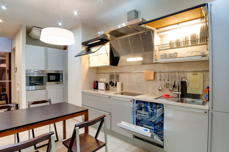 Home Interior Lighting Equipment Domestic Room Home Modern Kitchen Indoors  Furniture Home Showcase Interior Illuminated Architecture Domestic Kitchen Household Equipment No People Appliance Electric Light Table Electric Lamp House Seat Oven Luxury Cabinet Light Flooring
