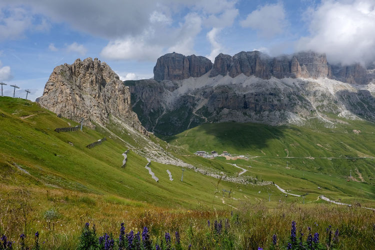 Panoramic view of dolomite landscape against dramatic sky