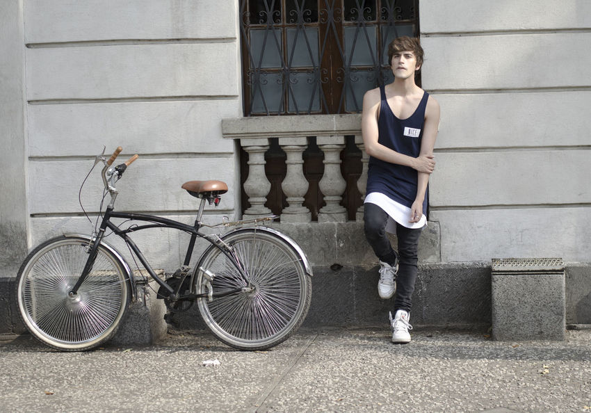 Architecture Bicycle Blogger Boy Building Exterior City Life Cycling Fashion Fit Full Length Guy Looking At Camera Muscle One Person Ootd Portrait Skater Standing Transportation