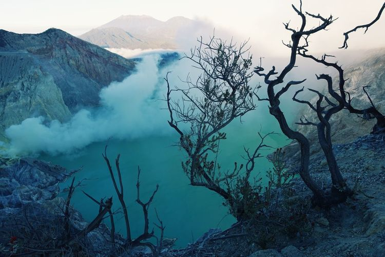Scenic View Of Ijen Crater By Mountain