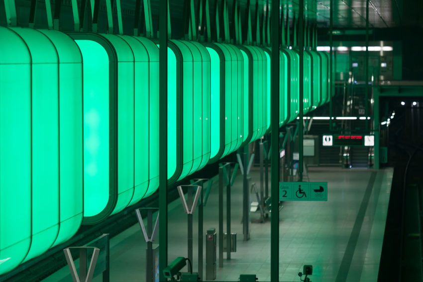 U-Bahnhof HafenCity Universität The Architect - 2018 EyeEm Awards Architecture Convenience Day Glass - Material Green Color Illuminated In A Row Indoors  Industry Lighting Equipment Modern No People Order Pattern Reflection Technology Transparent Turquoise Colored