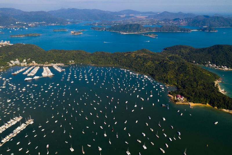 Aerial view of boats water
