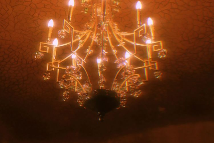 Low angle view of illuminated christmas lights