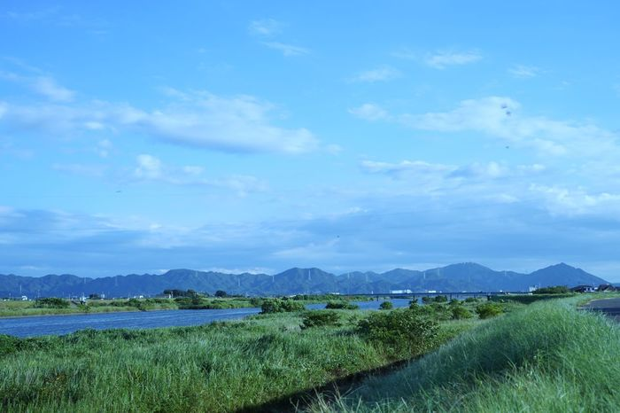 Deep Breath Mountains River Riverbank River View Bank Ridge Line Clouds Sky Hometown Plants Wind Japan SONY A7ii 50mm