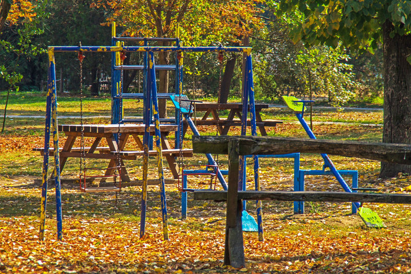 Playground in the park Playground Park Day Park - Man Made Space Outdoor Play Equipment Autumn Metal Outdoors