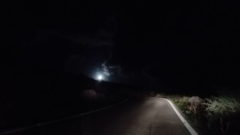 Night Dark Road Nature Sky Full Moon