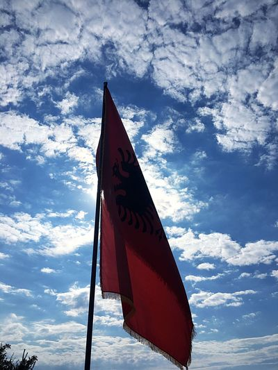 Outdoors Cloud - Sky Flag Patriotism Albania Red&black Low Angle View Sky No People Day Red Nature Eagle Beauty In Nature Landscape Nature Blue Sky Wind Albanian Naturelovers 👐