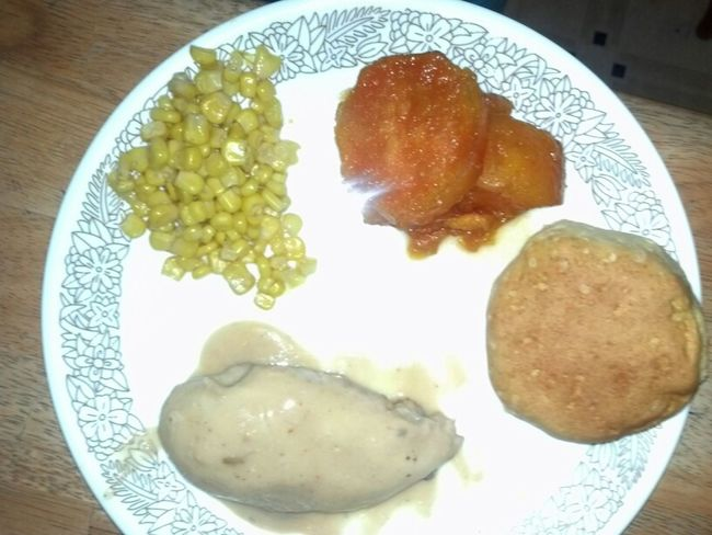 Sweet Potatoes Corn And Baked Chicken Breasts