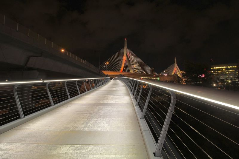Walkway from North Point Park to Paul Revere Park, Boston Bridge - Man Made Structure Night Architecture Railing Illuminated The Graphic City