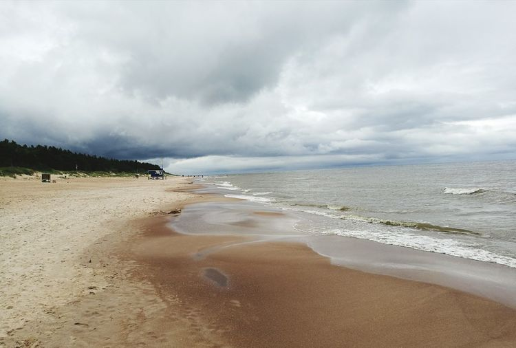 Beach Sand Sea Cloud - Sky Landscape Dramatic Sky Coastline Tourism Lithuania Horizon Over Water Nature Grey Sky Dramatic Scenery