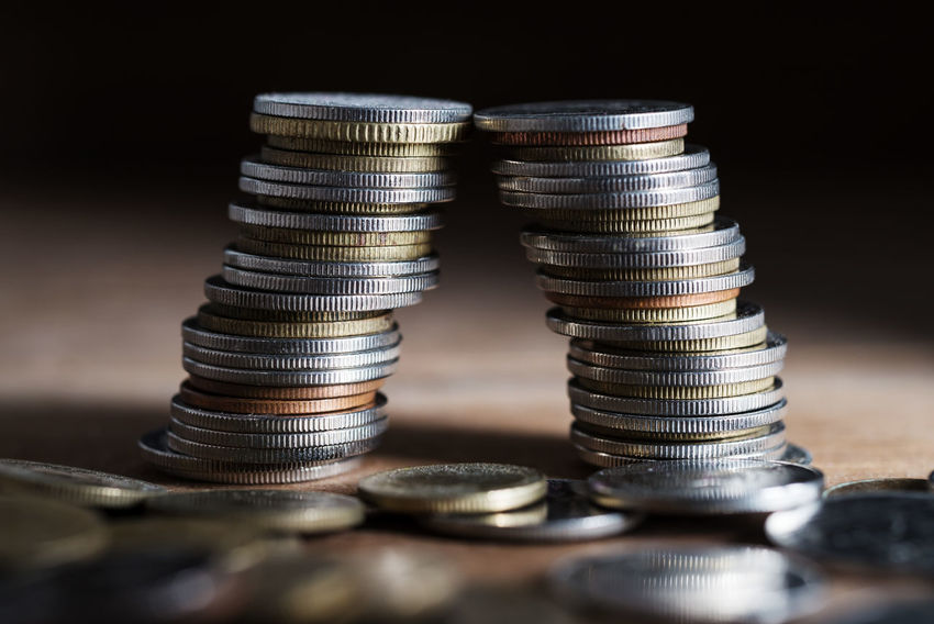 Stack of coin for finance and banking concept Bankrupt Bankruptcy Accountancy Growing Growth Account Accountant Accounting Bank Banking Calculate Close-up Coin Concept Earnings Finance Financial Fund Income Invesment Invest Investing Investor Money Save Savings Stacking