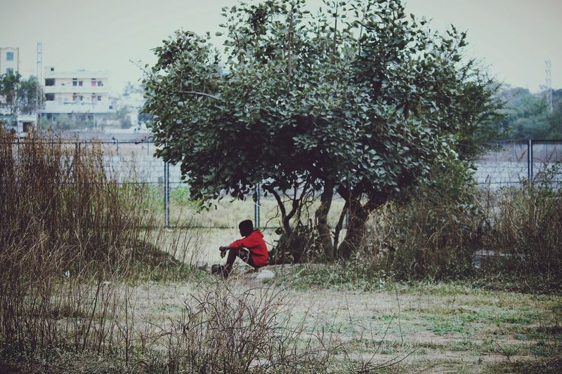 Tree One Person Outdoors Day Full Length Nature Alone Alone Time Lone Tree Red Eyeemphotography The Photojournalist - 2017 EyeEm Awards