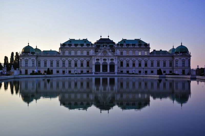 Belvedere Palace And Reflecting Pool At Dusk