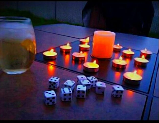 Illuminated Candle Lit Dice Game Game Of Luck Lucky Playing Games Cocktails Winning Moment Win Big Art Is Everywhere Environment EyeEm Gallery Snapshots Of Life Eyeem Market Getty Images Pacific Northwest  Original Experiences Just For A Minute Multi Colored Backyard Livin' Fun And Friends Spring Evening Spill The Dice Scenics Cheers 🍻