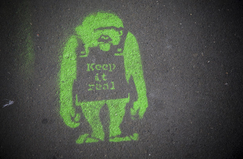 Keep It Real Ape Close-up Communication Full Frame Green Color Keep It Real Monkey Outdoors Pavement Pavementporn Real Sandwich Board Street Symbol Tarmac Western Script
