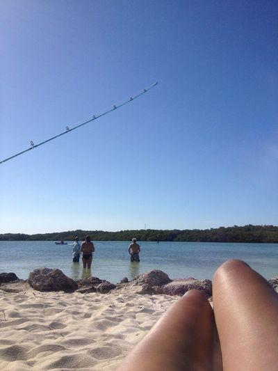 Beach Fishing Enjoying The Sun