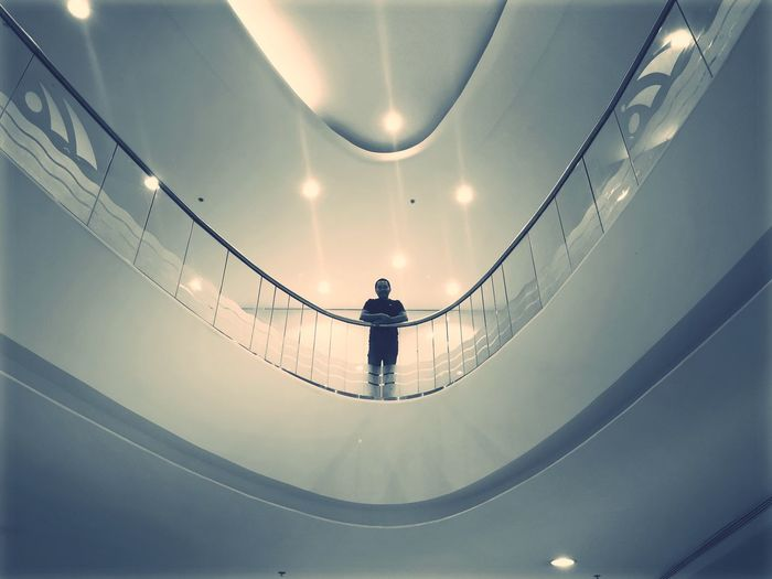 One Person Architecture Standing Built Structure Leisure Activity Real People Rear View Ceiling
