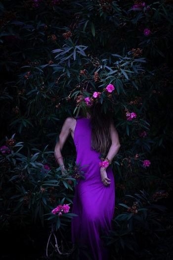 Rear view of woman standing by pink flowers on field