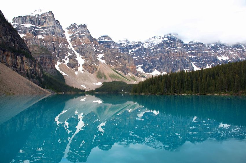 Banff National Park  Blue Lake Moraine Lake  Mountain Range With Blue Water Lake Adventure Awe Inspiring Blue Water Fascinating Glacial Lake Incredible View Landscape Mountain Lake Outdoors Reflection Lake Tourism Travel Destinations My Best Travel Photo