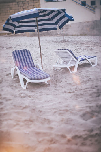 Beach By The Sea Chair Day Deck Chair Relaxation Sand Seat Stripes Pattern Sunbed Sunbed And Umbrella Umbrella Walk
