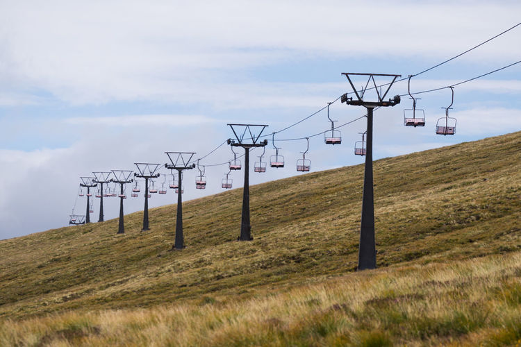Ski Lift On Top Of Aonach Mor Aonach Mor Global Warming Nevis Range Mountain Resort Scotland Ski Lift Beauty In Nature Cable Connection Day Field Grass Highlands Landscape Mountain Nature No People Outdoors Scenics Scottish Highlands Sky Summer Technology