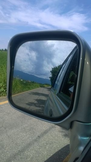2016 43 Golden Moments Backhome Comebackhome Coming Home Country Road Finishthework July 2016 Land Vehicle Mode Of Transport My Road  Myword  Nature Reflection Road Side-view Mirror Sky Vehicle Interior