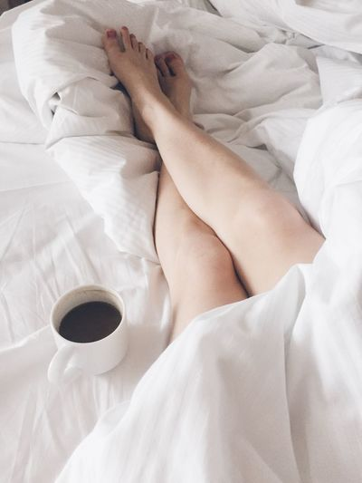 Relax time Bed Time Breakfast Morning Cozy Relaxing Coffee Break Coffee Time Coffee Cup Coffee EyeEm Selects Bed Bedroom Human Leg Sheet Indoors  White Color Comfortable Relaxation Low Section Lying Down Real People Women Freshness Day