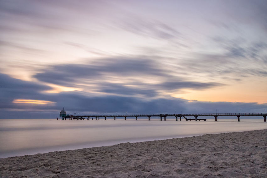 Seebrücke Zinnowitz als Langzeitbelichtung 01 Baltic Sea Holiday Ostsee Seebrücke Sonnenaufgang Strand Urlaub Zinnowitz Beach Koserow Romantic Sky Ruhe Stille Summer Sunrise Sunset Usedom