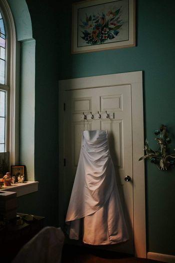 Wedding dress. Indoors  Curtain Bedroom Bed Home Interior No People Day Wedding Photography Dress Wedding Dress