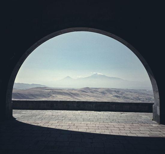 Scenic view of mt ararat seen through arch